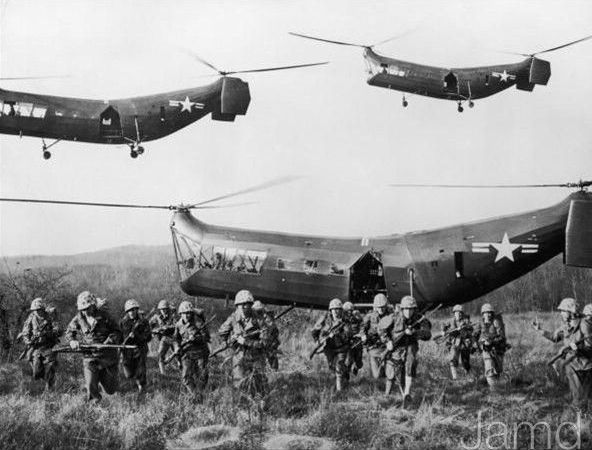 Alien looking helicopters used in the Korean War