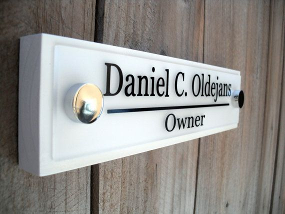 Office Door Wooden Plaque With Acrylic Name Plate By GaroSigns