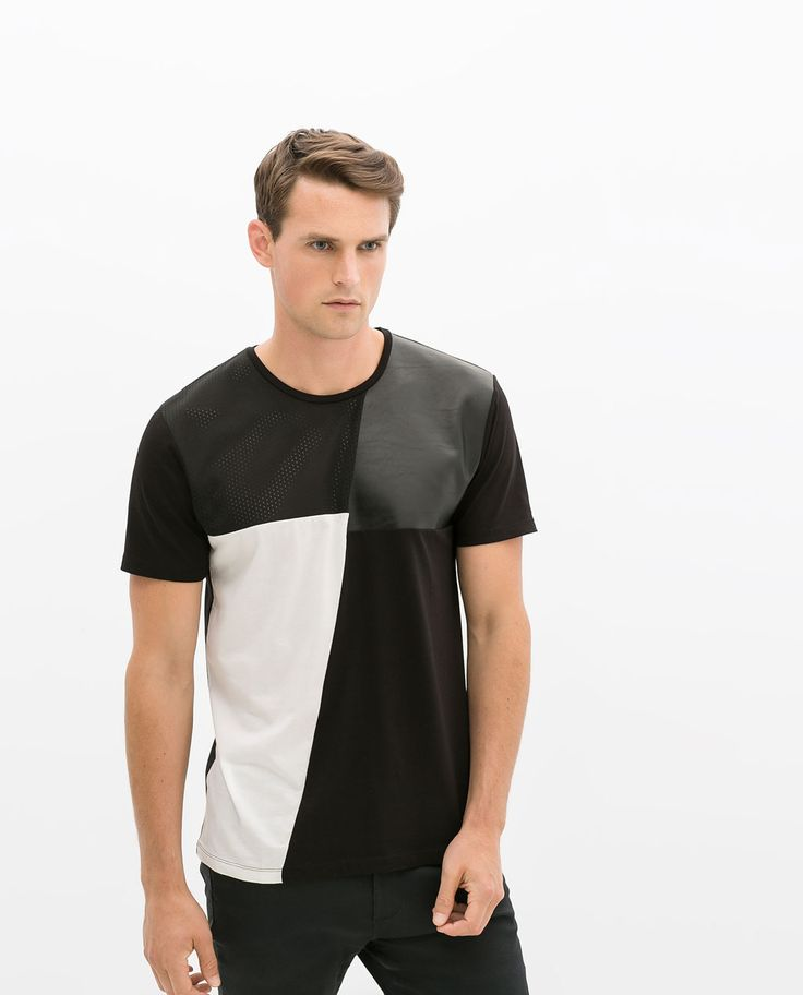 Image 2 of T-SHIRT WITH FAUX LEATHER DETAIL from Zara Camise