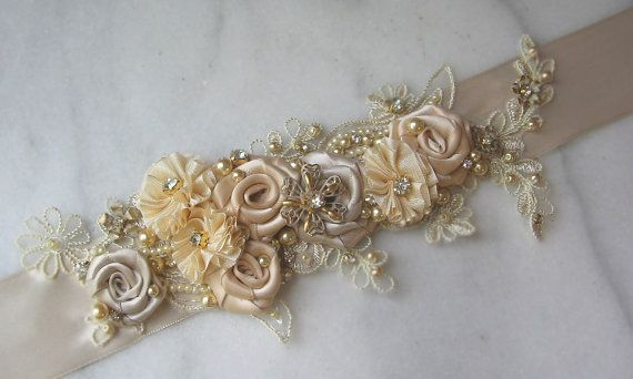 Light Champagne and Gold Bridal Sash Crystals by TheRedMagnolia