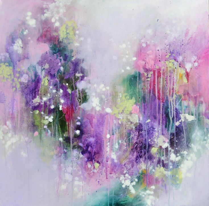 ARTFINDER: The Words Have All Been Spoken by Tracy-Ann Marrison - Original abstract expressionist painting created using acrylic paint in shades of purple, pink, green and white on stretched box (deep edge) canvas. Highlig...
