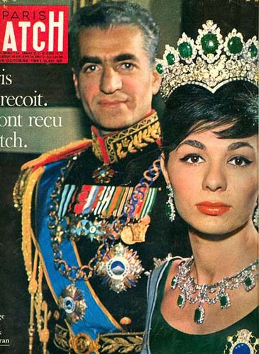 Feature on baron Mohammad Reza  Pahlavi and Empress Farah Diba published in Paris Match magazine (October 14, 1961). Funny how an Italian magazine changed the original photo. The tiara became a crown o) by kings of Persia, via Flickr
