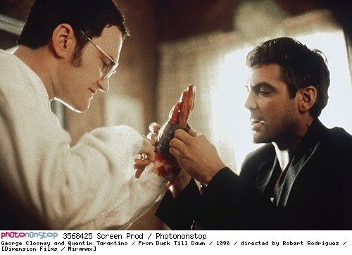 George Clooney and Quentin Tarantino / From Dusk Till Dawn / 1996 / directed by Robert Rodriguez / [Dimension Films / Miramax] -- 1996 From Dusk Till Dawn George Clooney Quentin Tarantino Robert Rodriguez