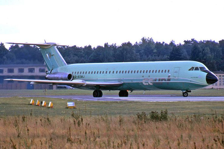 "Court Line BAC 111-518FG One-Eleven G-AXMJ ""Halcyon Night"" at Berlin-Gatow, circa September 1973. (Photo: Ralf Manteufel)"