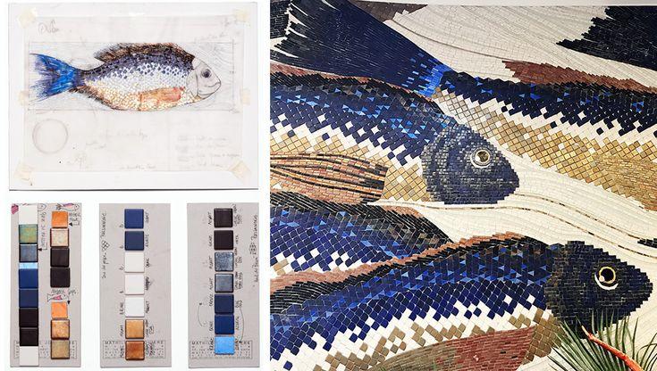 Pour la Poissonnerie, les queues des Daurades Royales sont bleues électriques par l'éclat des tesselles d'or donnant un mouvement et une profondeur au ban de poisson qui traverse l'espace. La Poissonnerie : grès cérame ; grès émaillés ; pâte de verre ; tesselles d'or jaune, bleu et cuivré 24 carats ; tesselles d'argent.