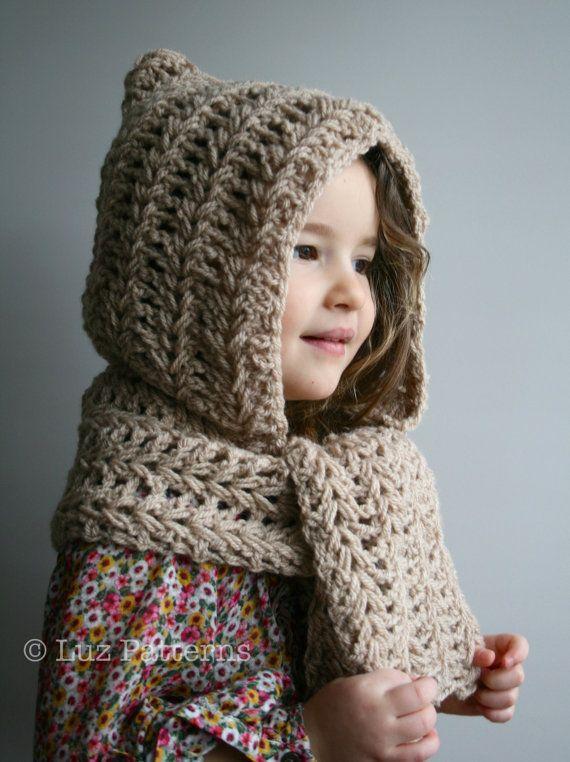 Crochet Patterns, modèle de chapeau de crochet de téléchargement instantané, motif de crochet capuche, capuche et écharpe motif Beanie Hat (128)