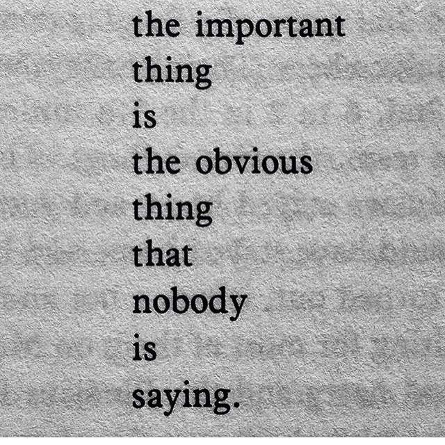 """The important thing is the obvious thing that no one is saying."" ~Charles Bukowski"