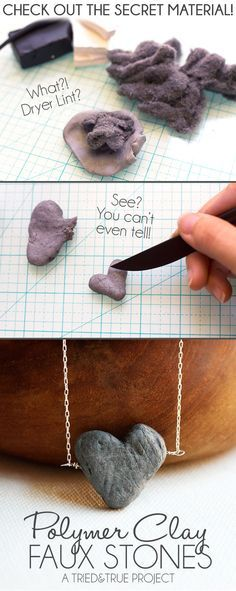 Vanessa Brady's Faux Stone Heart Tutorial. Add dryer lint to unbaked polymer clay to give it volume. Bake and let cool. - Tried & True