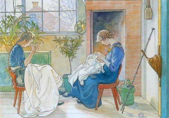 """""""女の子が窓に縫う"""", 水彩画 バイ Carl Larsson (1853-1919, Sweden)"""