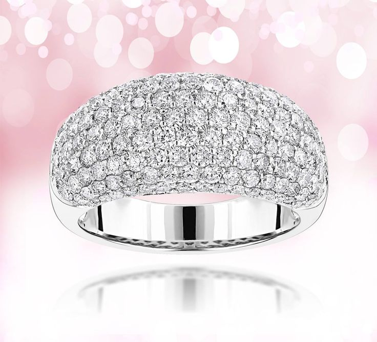 Ladies diamond ring: 14K gold pave round diamondsband 2.75ct G/vs