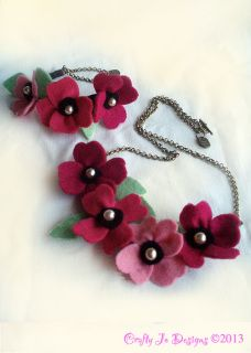Felt flower jewellery sets with vintage style antique gold chain and clasp