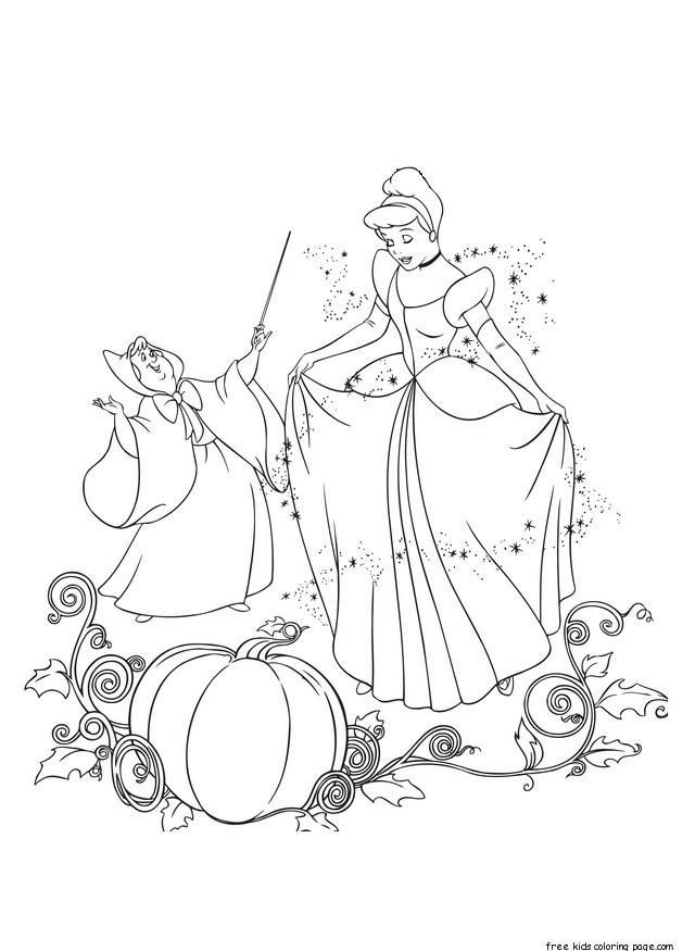 Printable Disney Characters Cinderella And Her Fairy Godmother Coloring Pages Cinderella Coloring Pages Coloring Books Disney Coloring Pages