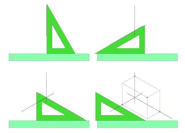 Gracias a la forma del cartabón,  podemos trazar fácilmente los ejes  tanto en la  perspectiva isométrica  como en la militar , además...