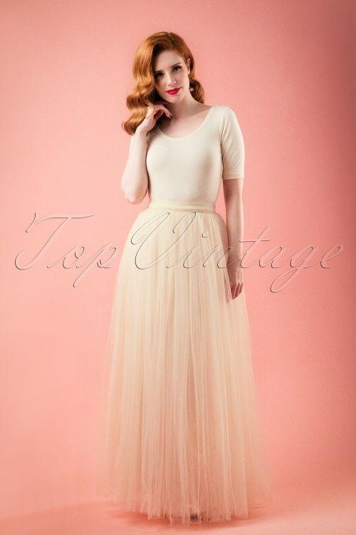 Little Mistress - 50s Olivia Maxi Tulle Skirt in Cream