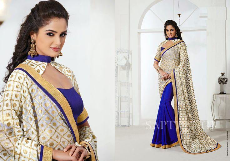 Ethnic Beige Silk Designer Saree With Smart Look  #designersaree #indiansaree