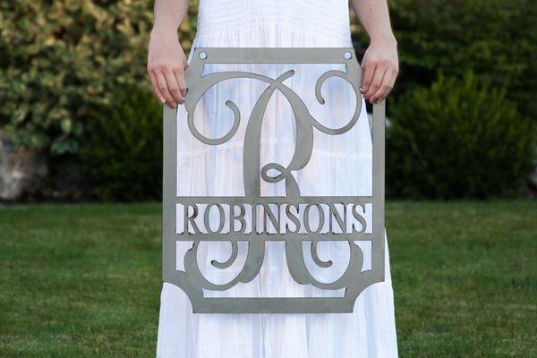 Embellished Metal Rectangular Monogram