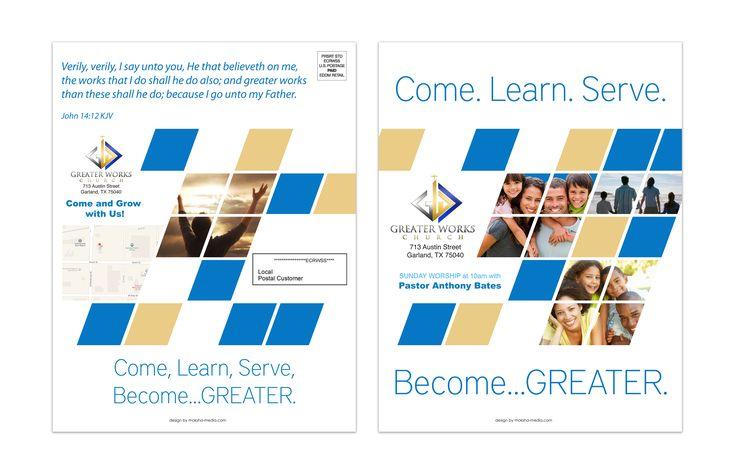 """Flyer Design (8.5"""" x 11"""" Mailer) for Greater Works Church, designed by Moksha Media of Dallas - Daymond E. Lavine"""