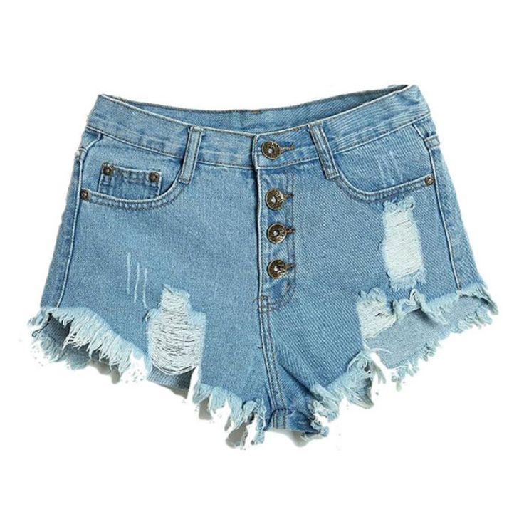 Verano de Las Mujeres Atractivas Irregular de Talle Alto Shorts Fashion Slim Fit Denim Jeans Shorts