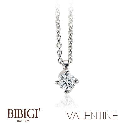 Collana oro bianco e diamanti #Valentine #Bibigi , #Bibigì .  Un must per chi non sa rinunciare al classico solitario, anello o parure, una collezione classica dalla montatura delicata ma curata nei più piccoli particolari.
