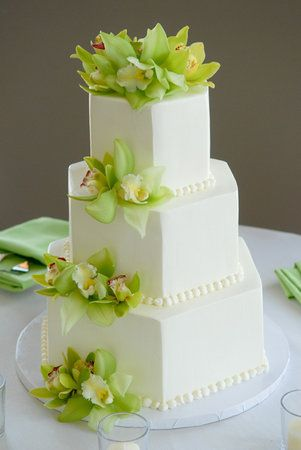 The vibrant green Cymbidium orchids make this wedding cake will create a memorable part of your wedding day.