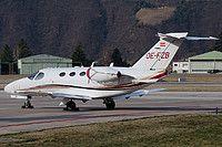 GlobeAir Cessna 510 Citation Mustang OE-FZB aircraft, parked at Italy Bolzano-Dolomiti ''Francesco Baracca'' Airport. 04/03/2015.