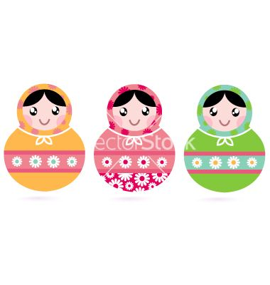 Cute floral colorful matryoshka set vector 1488933 - by lordalea on VectorStock®