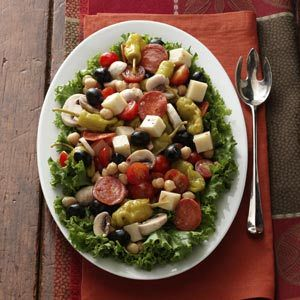 """Antipasto Platter Recipe from Taste of Home -- A real """"party pleaser"""" and a refreshing change from the usual chips and dip. —Teri Lindquist, Gurnee, Illinois"""