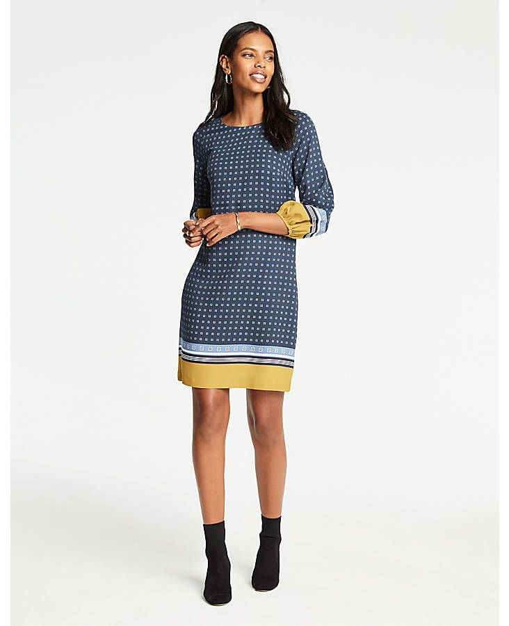 7ccaae2df1 Shop Ann Taylor for effortless style and everyday elegance. Our Scarf Print  Lantern Sleeve Shift Dress is the perfect piece to add to your closet.