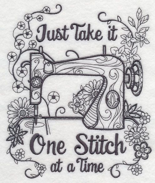 Blackwork Sewing machine color it yourself embroidered fabric quilt block