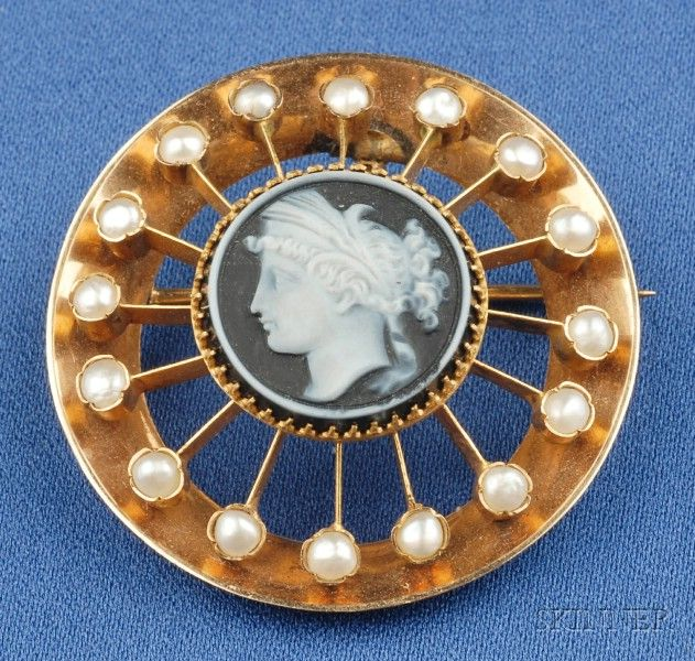 Antique 18kt Gold, Hardstone Cameo, and Seed Pearl Pendant/Brooch, depicting a lady with upswept hair, radiating knife-edge bars ending in bezel-set seed pearls, in a circular frame