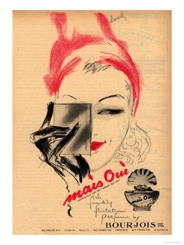 Bourjois, Mais Oui Womens, USA, 1940 Premium Poster at Art.com