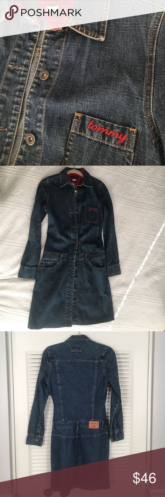 """Vintage Tommy Hilfiger Women's Denim Dress Vintage Tommy Hilfiger """"Tommy Jeans"""" Long sleeve denim dress. This dress is is great condition and was rarely worn. Tommy Hilfiger Dresses Midi"""