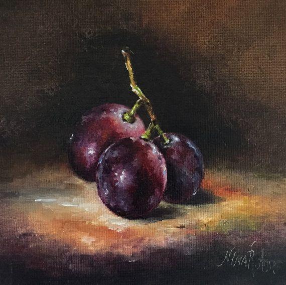 Pintura al óleo bodegones originales uvas por por NinaRAideStudio