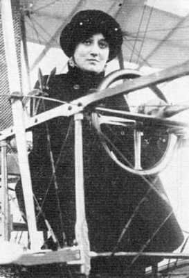 Raymonde de Laroche was the first woman in the world to earn a pilot license on March 8th, 1910. Competing in the Coupe Femina, she won the 1913 award with a flight of over 4 hours. She set two world records in 1919 for longest flight by a woman, with a distance of 201 miles, and for reaching an altitude of 15,700 feet. On July 18th, 1919, she was killed while flying in an experimental airplane when it crashed while trying to land.