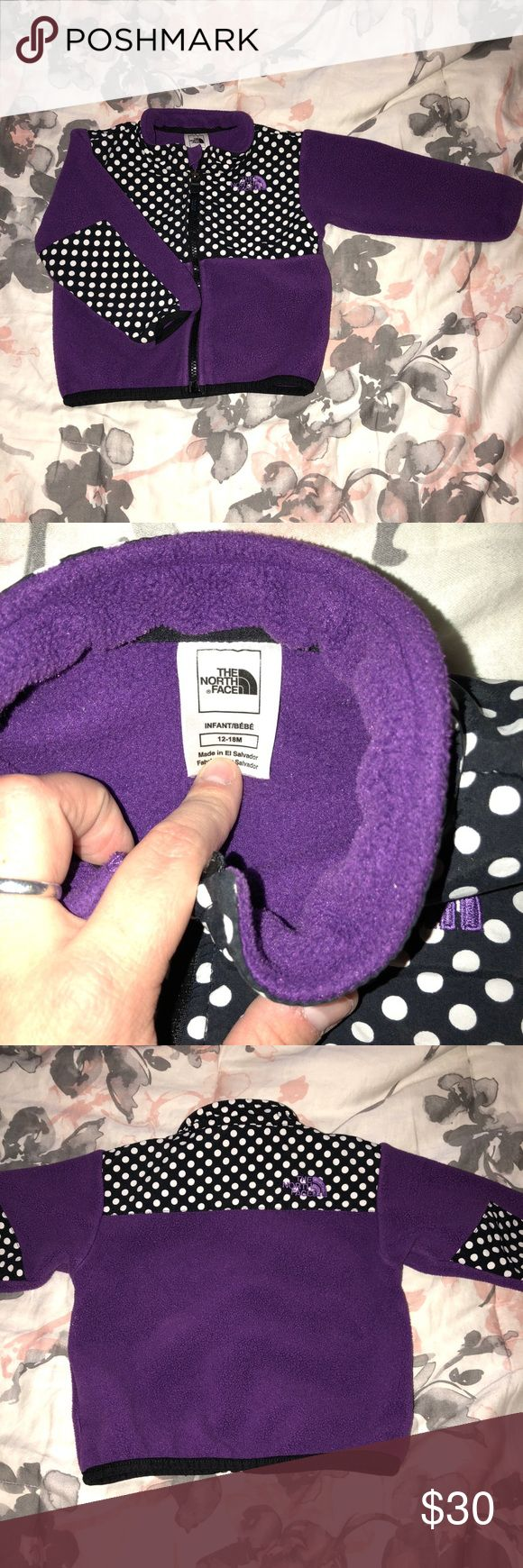 The North face zip up 12-18 mts Purple/ Polka Dot The North Face Zip Up 12-18 months Purple and Black and white Polka Dot   In perfect condition.  Price is negotiable. Please make an offer 🤗  My daughter loved this until we got her one of the fuzzy Northface's.  Everything in My Closet comes from a Pet free🐶🐱Smoke Free 🚭 Clean Loving Home🏡 👨👩👧👦. Open to reasonable offers ♻️ Depending on the time your order is placed, 1-2 day shipping📦🛍 Contact we me with any questions ⁉️ Happy…