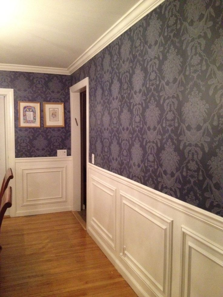 I love my Dining Room.  Navy blue damask wall paper and new moulding.  Paper is Thibaut Hampton Damask.