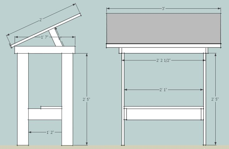 https://flic.kr/p/dwScMF | drafting table final | I get a lot of requests for the dimensions of the drafting table I built a few years ago, so here are the basic measurements.  I built it using lumber I had on hand, so the legs and cross pieces don't have to be the same, but the basic proportions work great for me.  Hope this helps.