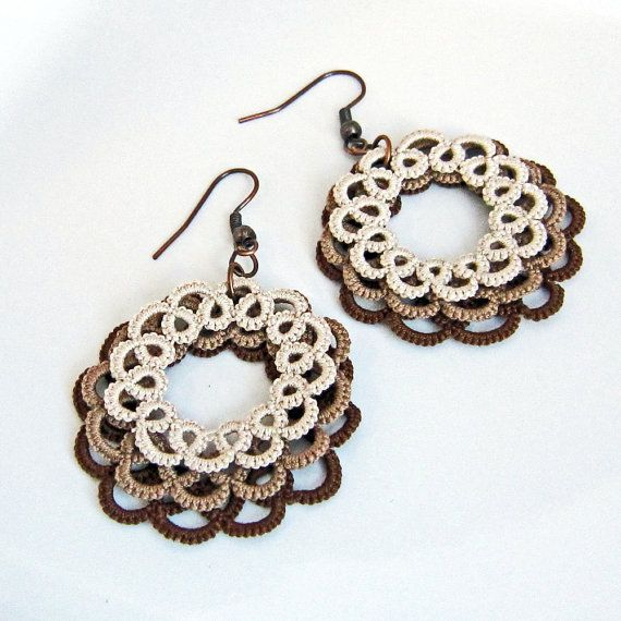 Earrings . Lace . Tatted Circle Layers . Brown Espresso Mocha Latte  .via Etsy.
