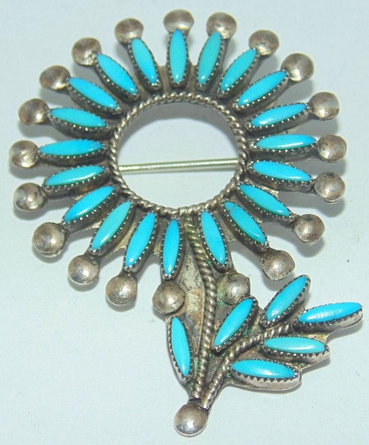 GORGEOUS VINTAGE PETIT POINT TURQUOISE STERLING SILVER FLOWER PIN