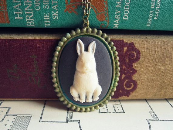 Bunny Necklace Cameo Bunny Necklace by CircaAD on Etsy, $26,00