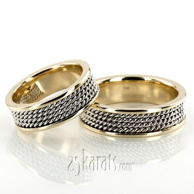 Four Row Braided Two Color Wedding Band Set 25karats