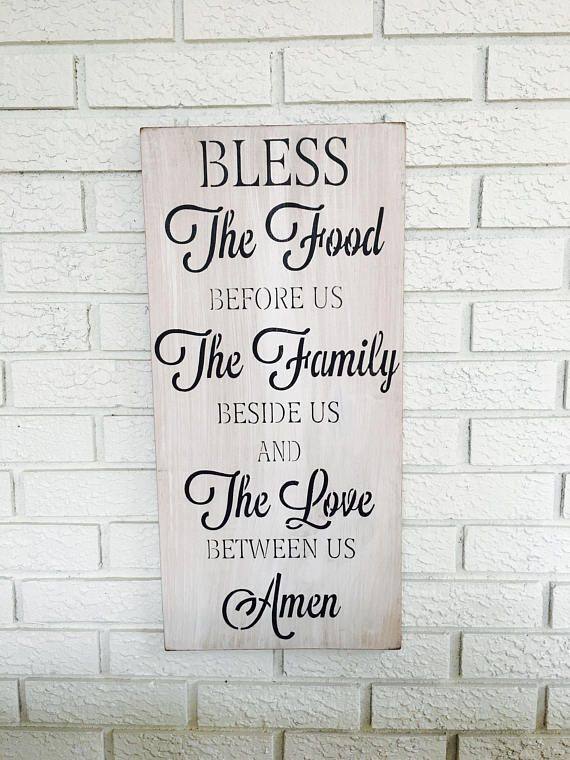 Bless The Food Sign Kitchen Wall Decor Vertical Wall Art Rustic Home Decor Farmhouse Style Sign Rustic Wood Sign Distressed Wooden Art Kitchen Wall Decor Bless The Food Farmhouse Style Sign