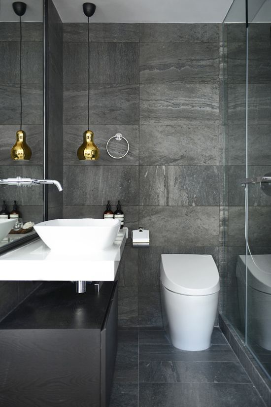 grey white + gold bathroom