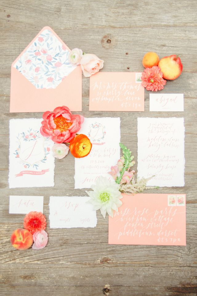 Coral and peach wedding invitations | Claire Graham Photography | see more on: http://burnettsboards.com/2015/04/coral-peach-wedding-editorial/