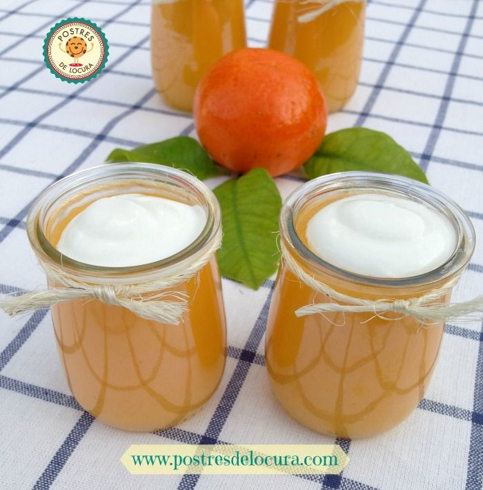 Gelatina con zumodenaranja,mandarina y yogur griego