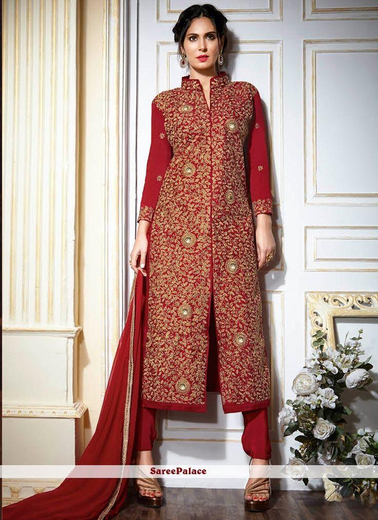 Lovely Resham Work Fancy Fabric Red Designer Suit
