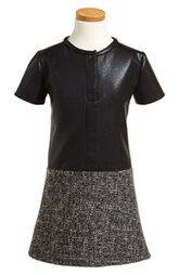 Alivia Simone 'Renfew' Faux Leather & Tweed Dress (Little Girls & Big Girls)