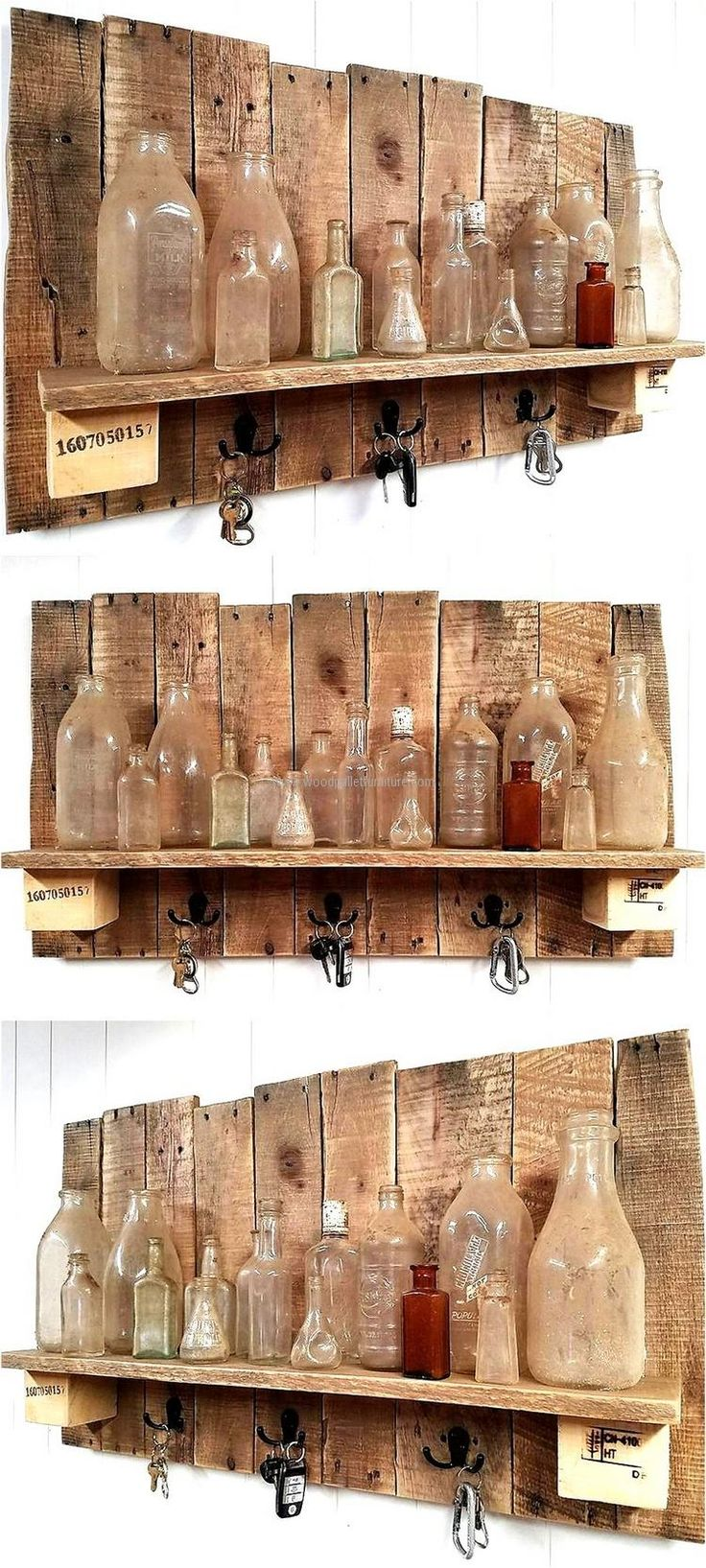 Reclaimed wood pallet rustic shelf plan works well for the homeowner who have a small home, but many items to store or needs an idea to decorate the home. This idea allows hanging the keys and other items to avoid the mess in the room, it also reduces the chances of missing the items.