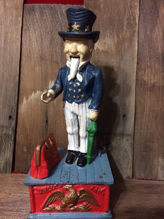 Uncle Sam Cast Iron Mechanical Bank Reproduction by 2BarnPickers