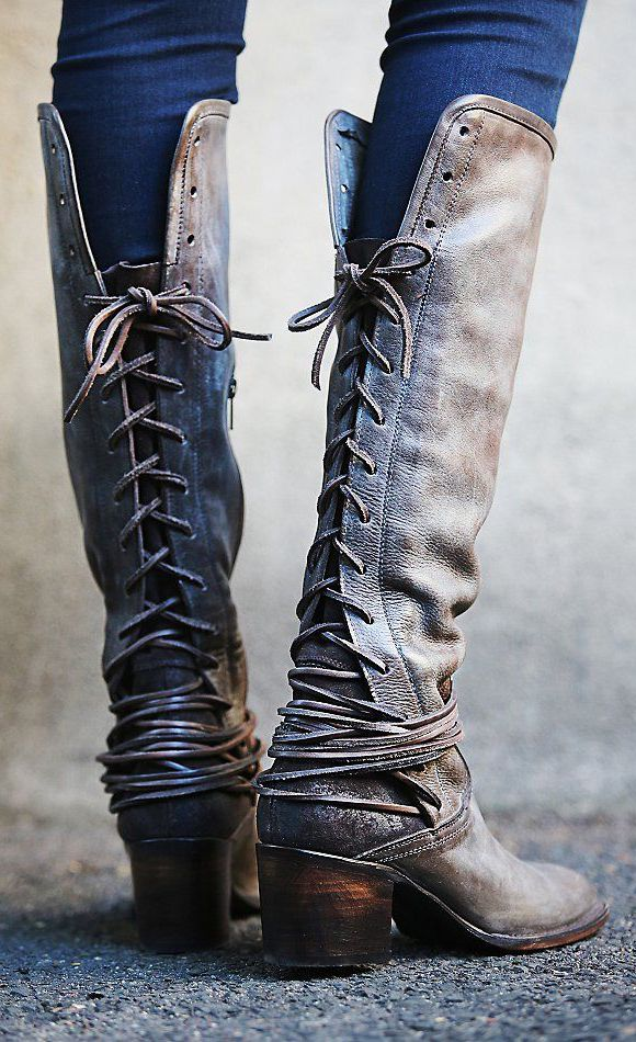 ☮ American Hippie Bohéme ☮  Gray Boho ☮ Back Lace-up Boots